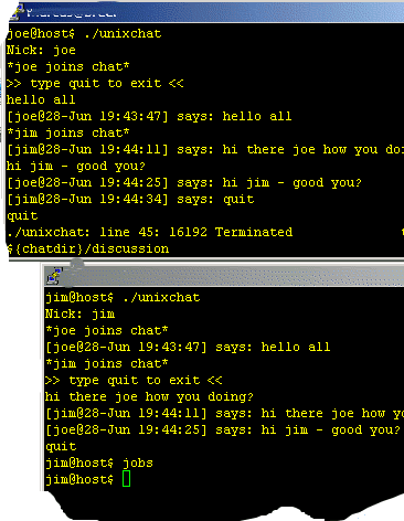UNIX chat code - simple solution written in shell